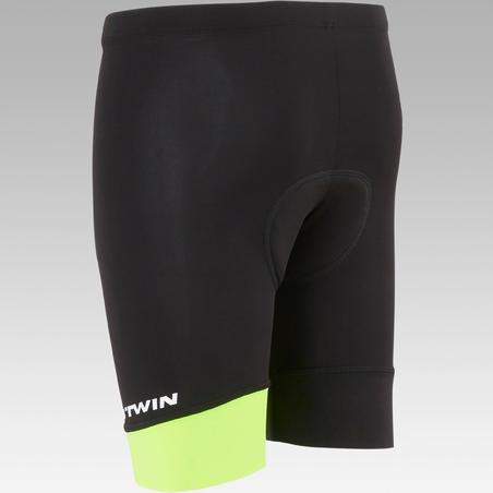 500 Kids' Bibless Cycling Shorts - Black/Neon Yellow
