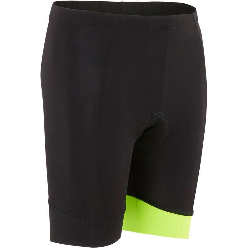 JR MTB ROAD WARM WEATHER APPAREL Cycling - 500 Kid's Padded Cycling Shorts - Black/Yellow B'TWIN - Cycling