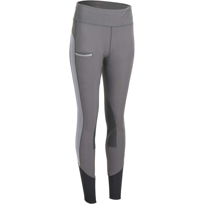 WOMAN HOT WEATHER RIDING WEAR Horse Riding - Light Jodhpurs 100 - Grey FOUGANZA - Horse Riding Clothes