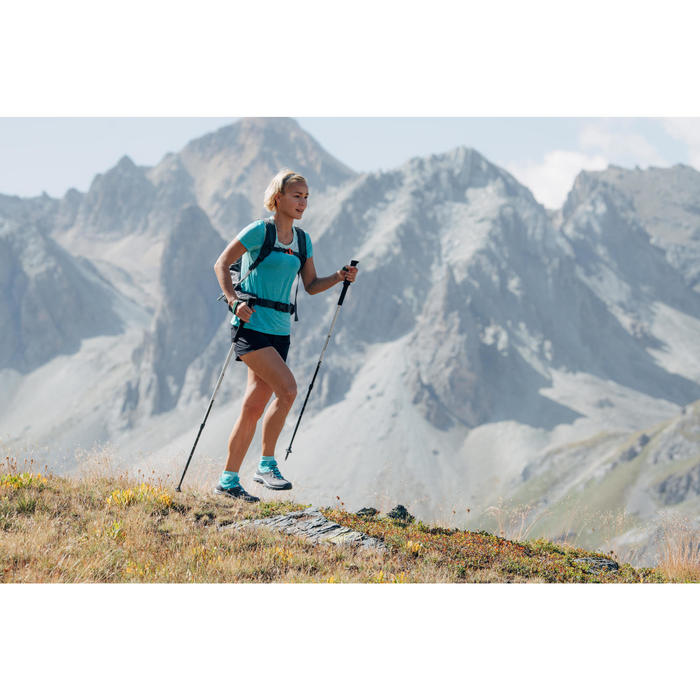 Schoenen voor fast hiking dames FH500 grijs/turquoisegroen