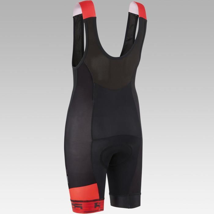 Culotte con tirantes ciclismo júnior 900 Negro/rojo