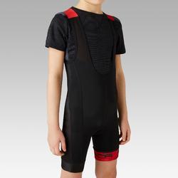兒童自行車吊帶短褲900 - 黑色/紅色