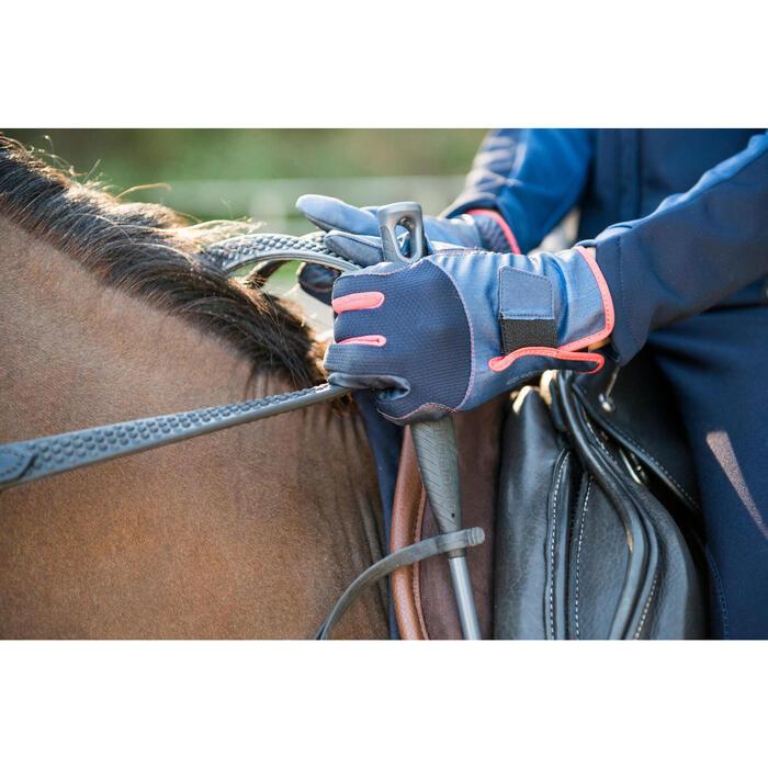 560 Kids' Horse Riding Gloves - Navy/Pink