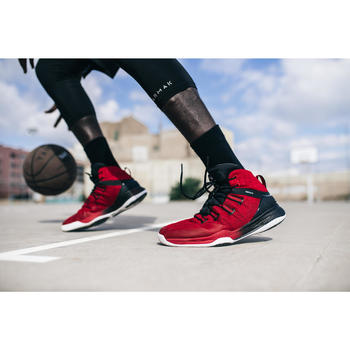 Basketbalschoenen SC 500 High rood/zwart