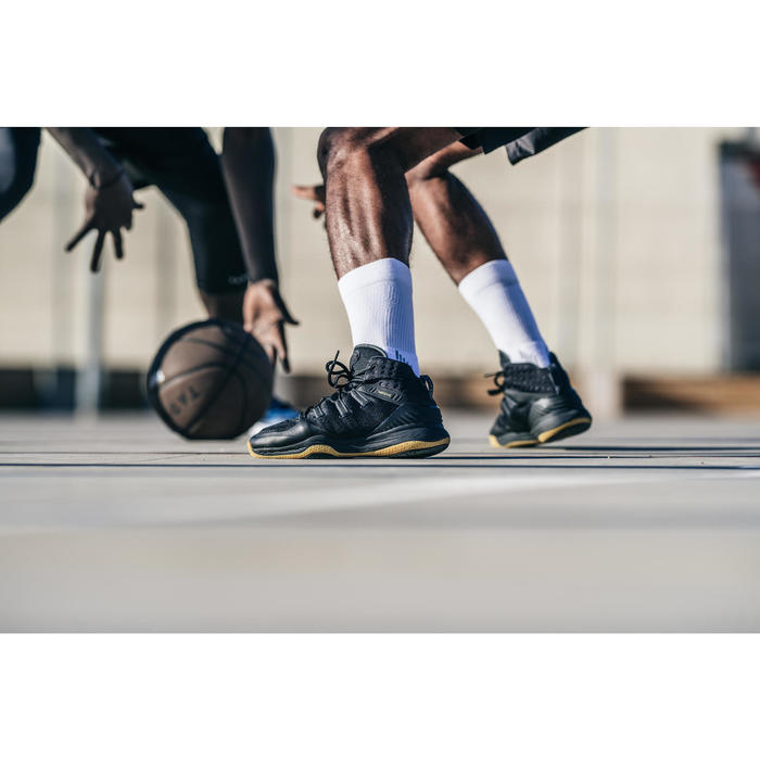 Basketbalschoenen volwassenen H/D halfgevorderden SC 500 High zwart goud