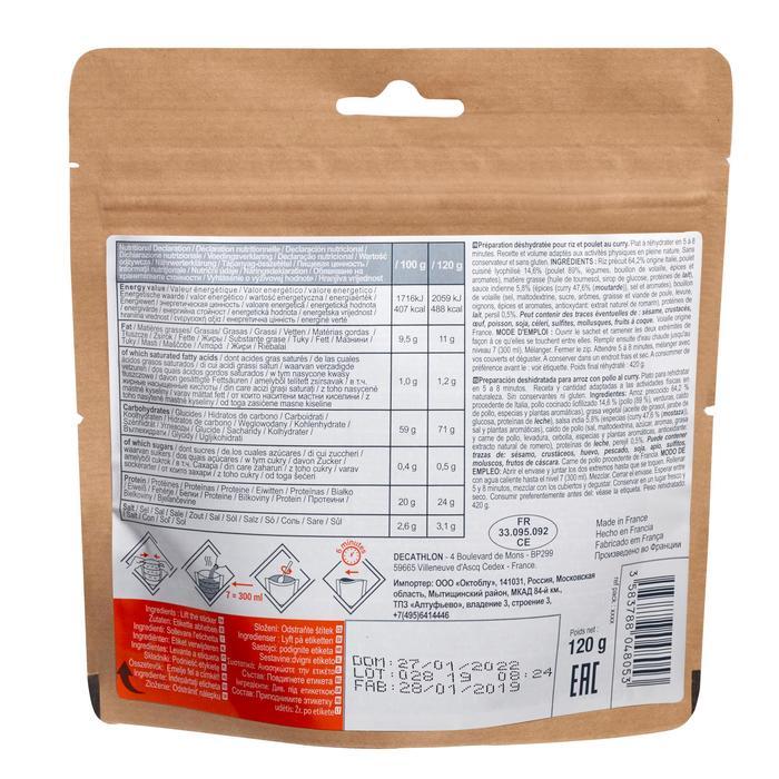 Refeição desidratada de Trekking arroz frango com caril sem glúten 120g