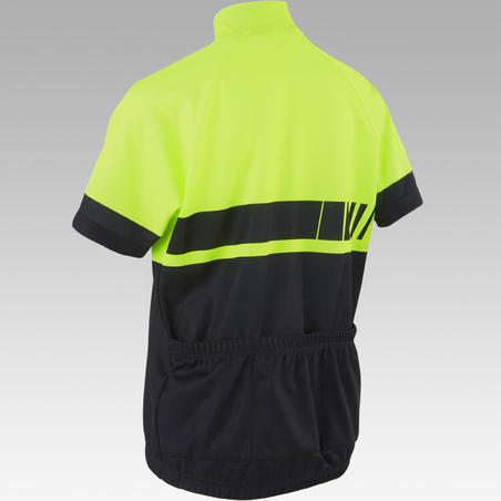 Kids' Short-Sleeved Cycling Jersey 500 - Yellow