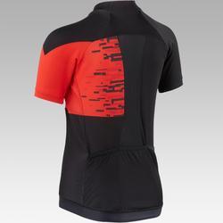 Fietsshirt korte mouwen kinderen 900 Zwart rood