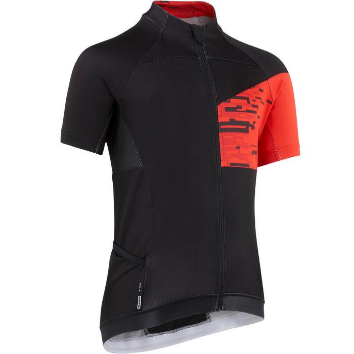 Maillot manches courtes vélo enfant 900 Noir rouge