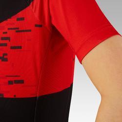 Maillot de manga corta para bicicleta infantil 900 Negro rojo