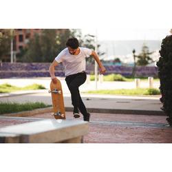 """Planche de skate DECK 100 taille 8.5"""" couleur bois et rouge."""