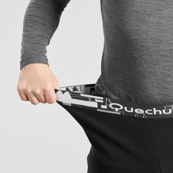 男款登山健行刷毛緊身褲-TREK 100 -黑色