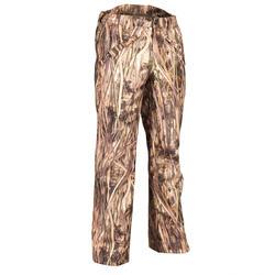 Pantaloni caccia 100 impermeabili mimetici canneto