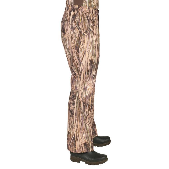 Pantalón Caza Solognac 100 Impermeable cortavientos camuflaje marismas