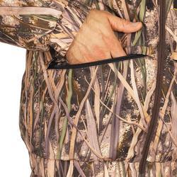 Gewatteerde jagersjas warm 100 moeras camouflage