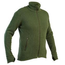 Warme, ademende en stille jachtjas in wol 900 groen