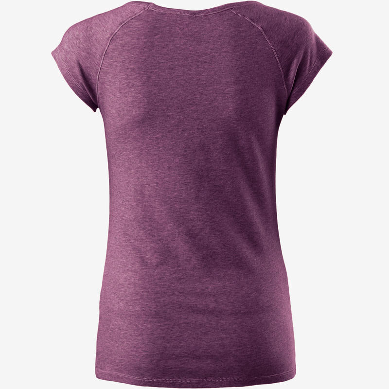 500 Women's Slim-Fit Pilates & Gentle Gym T-Shirt - Purple