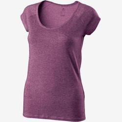 女款修身剪裁溫和健身與皮拉提斯T恤500 - 紫色