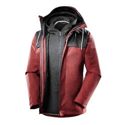 Abrigo Chaqueta Montaña y Trekking viaje Forclaz TRAVEL100 3en1 Hombre rojo