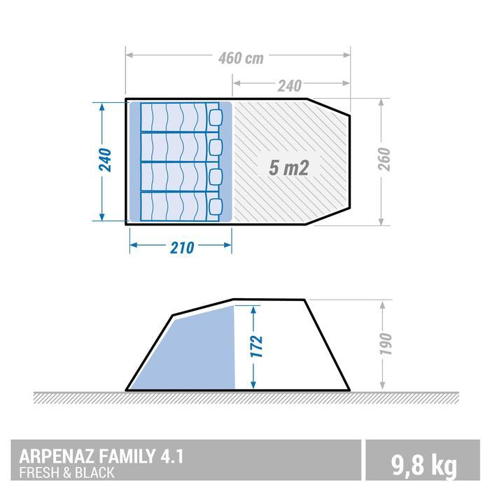 Familienzelt Stangenaufbau Arpenaz 4.1 Fresh&Black für 4 Personen in 1 Kabine