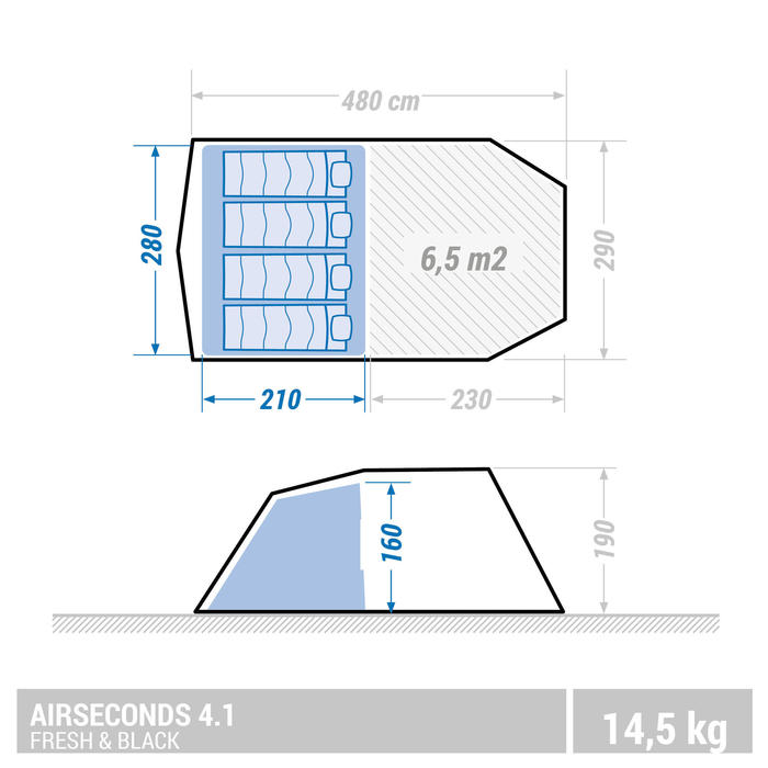 Kampeertent 4 personen Air Seconds 4.1 F&B opblaasbaar - 1 slaapcompartiment