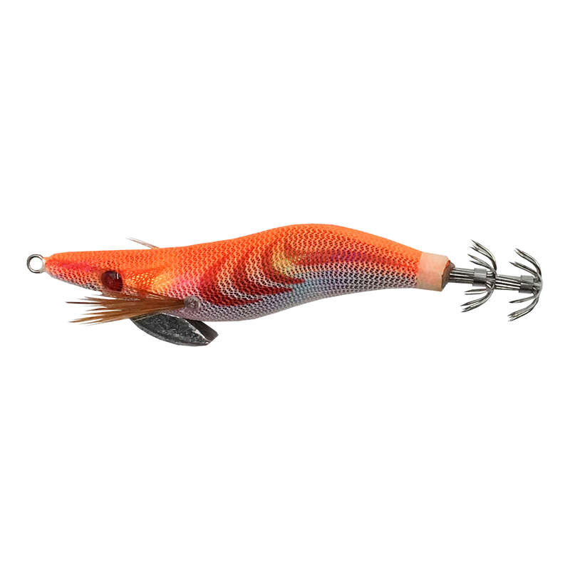 SQUIDS, OCTOPUS LURES Fishing - EGI Weighted 2.5 9cm Orange FLASHMER - Fishing