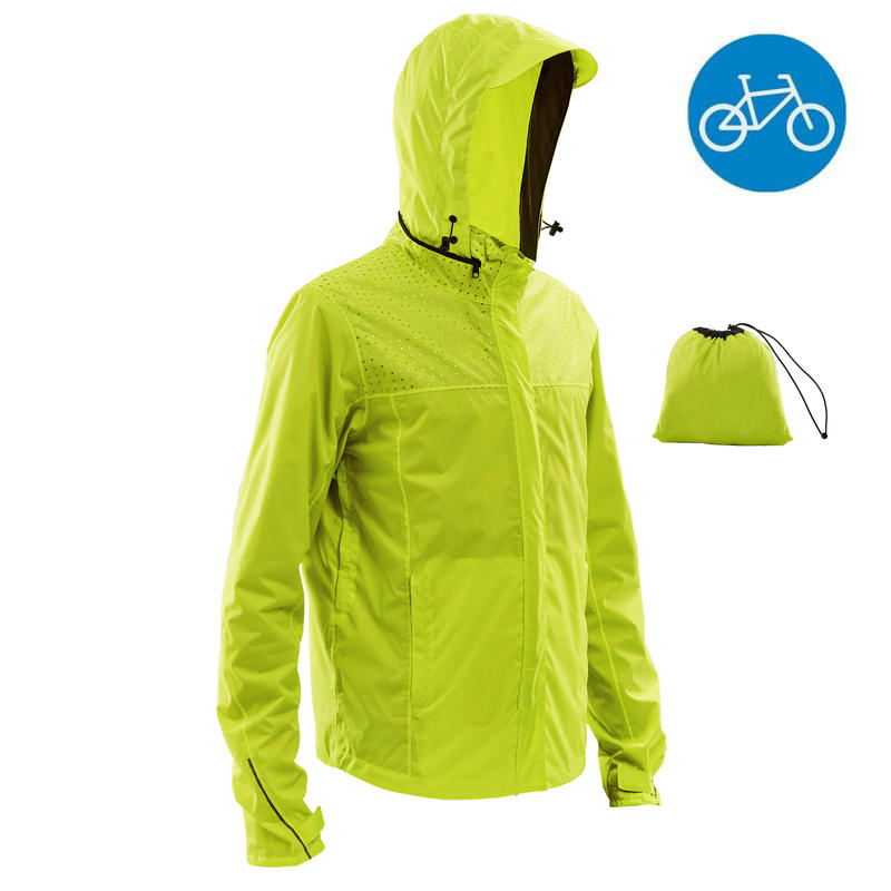 official site drop shipping superior performance 100 Cycling Rain Jacket - Neon Yellow