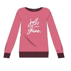 Damessweater 100 roze met motief