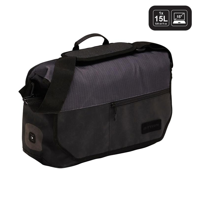 1 x 15L Bike Messenger Bag 500 - Black
