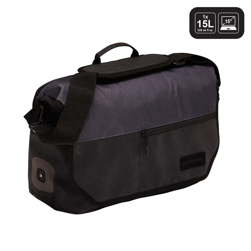 BIKE CARRIER LUGGAGE Cycling - 1 x 15L Messenger Bag UTK 900 B'TWIN - Bike Travel, Storage and Transport