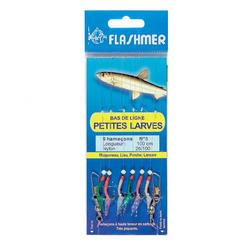Bajo de línea pequeñas larvas 6 anzuelos N°8 pesca en el mar
