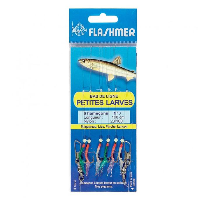 Bas de ligne Petites larves 6 hameçons N°8 pêche en mer