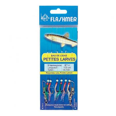 Bas de ligne Petites larves 6 hameçons N°14 pêche en mer