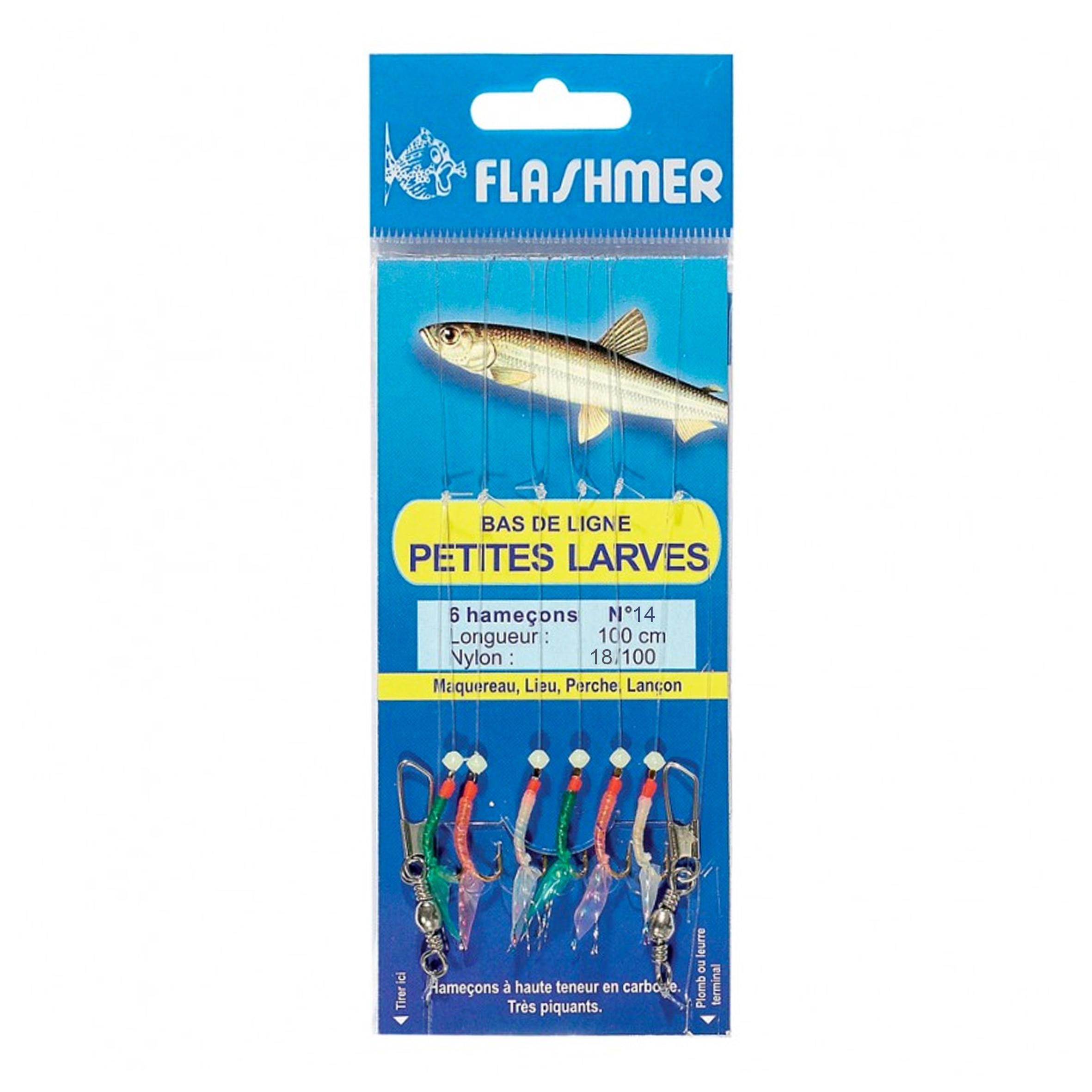 No brand Onderlijn zeevissen kleine larven 6 haken nr. 14