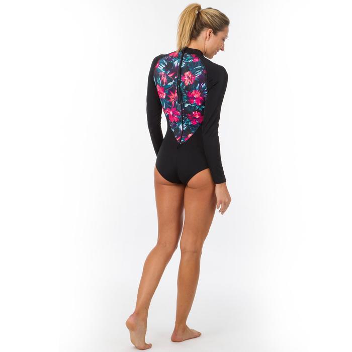 a76da3cfc492 Bañador Camiseta Manga Larga Surf Olaian Dan Mujer Cremallera Espalda Negro  Flor