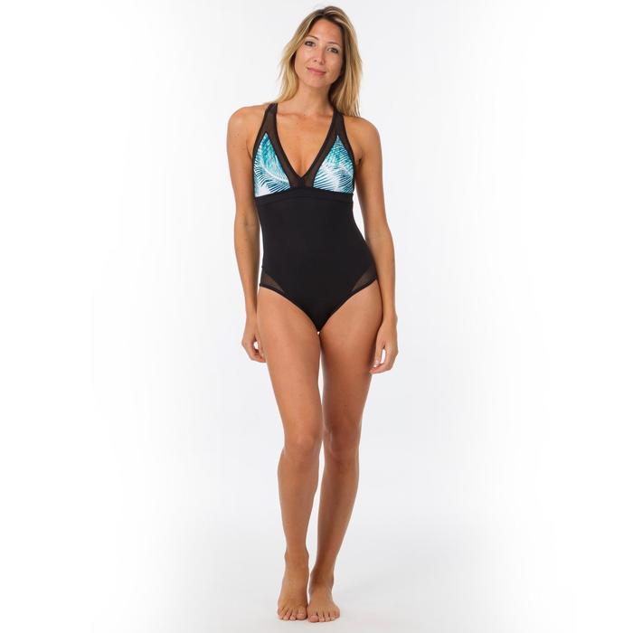Bañador Deportivo Surf Olaian Mujer Espalda X Transparencias Estampado palmeras