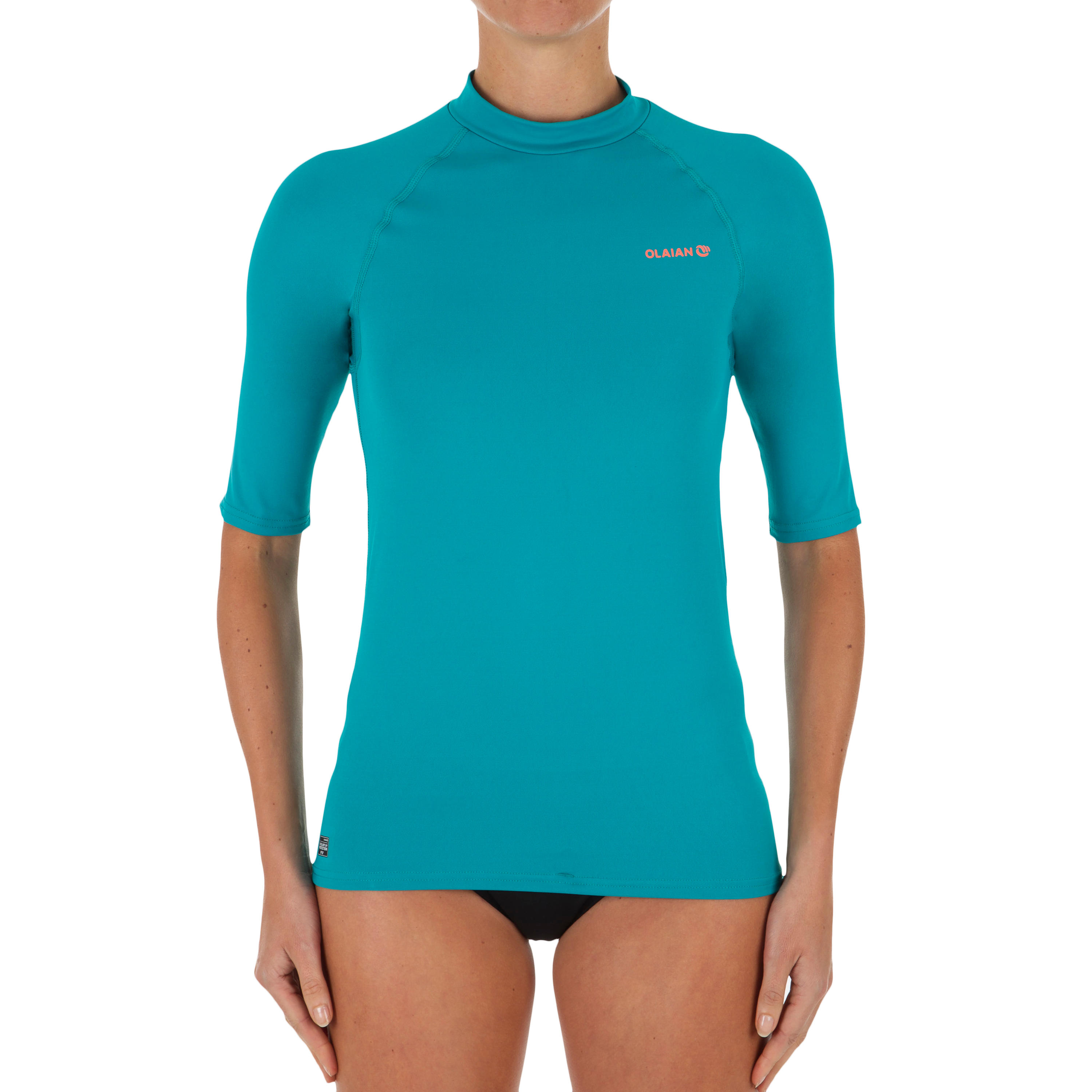 Surf Femme Top Tee Manches Uv Courtes Turquoise 100 Anti Shirt vbyYgf76