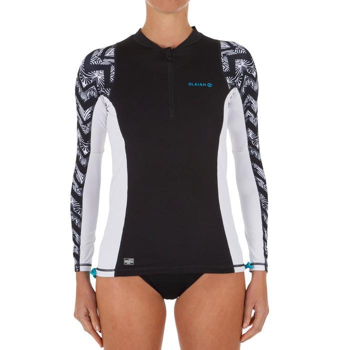 9c7c3e6a5 Top Camiseta Proteción Solar Playa Surf Olaian Uvtop500L Mujer Negro Blanco