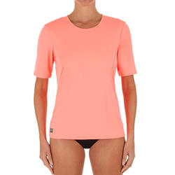EAU T-SHIRT anti-UV surf Manches Courtes femme corail fluo