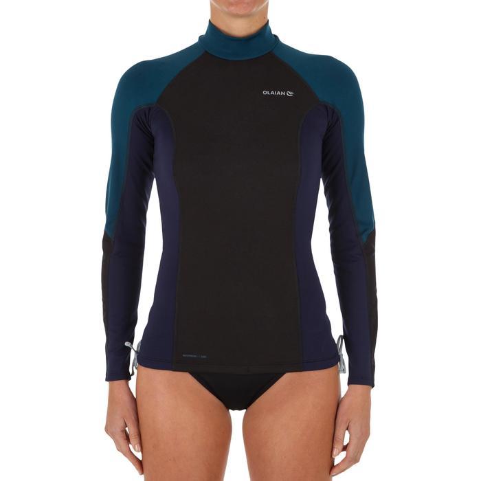 Top Camiseta Proteción Solar Playa Surf Olaian Mujer NegroAzul Petróleo ANTI-UV