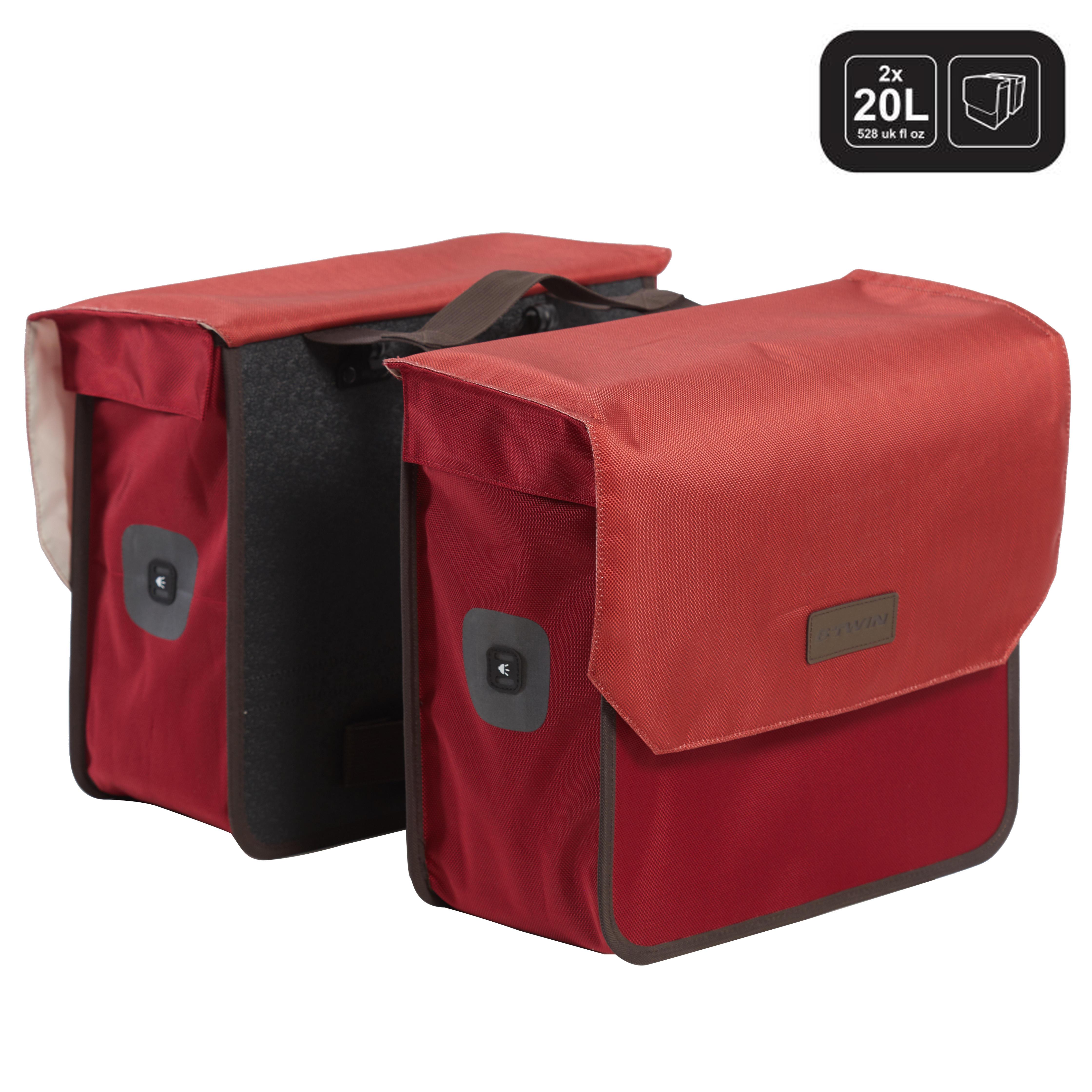 Doppel-Fahrradtasche 520 2×20 l bordeauxrot | Taschen > Businesstaschen > Fahrrad-taschen Büro | Elops