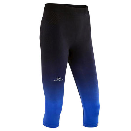 WOMEN'S RUNNING CROPPED BOTTOMS KIPRUN CARE - BLACK BLUE