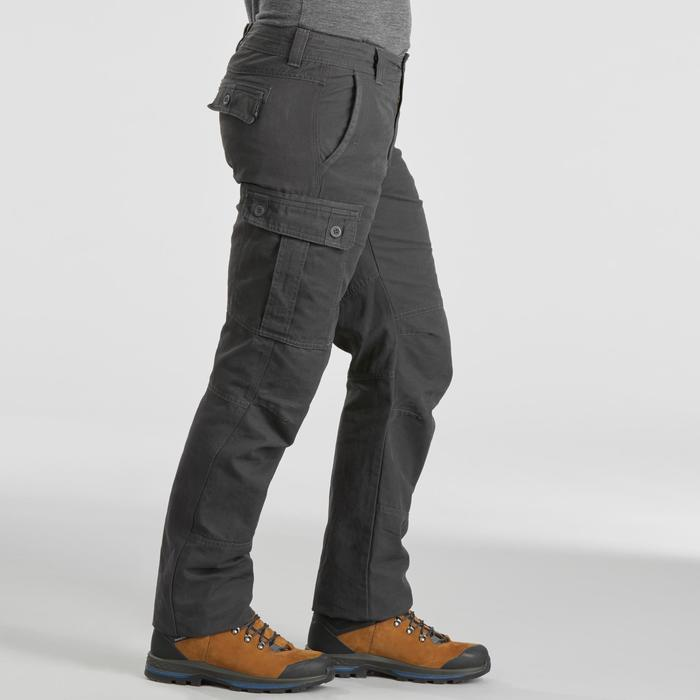 Men's warm trekking travel trousers - TRAVEL 100 - grey