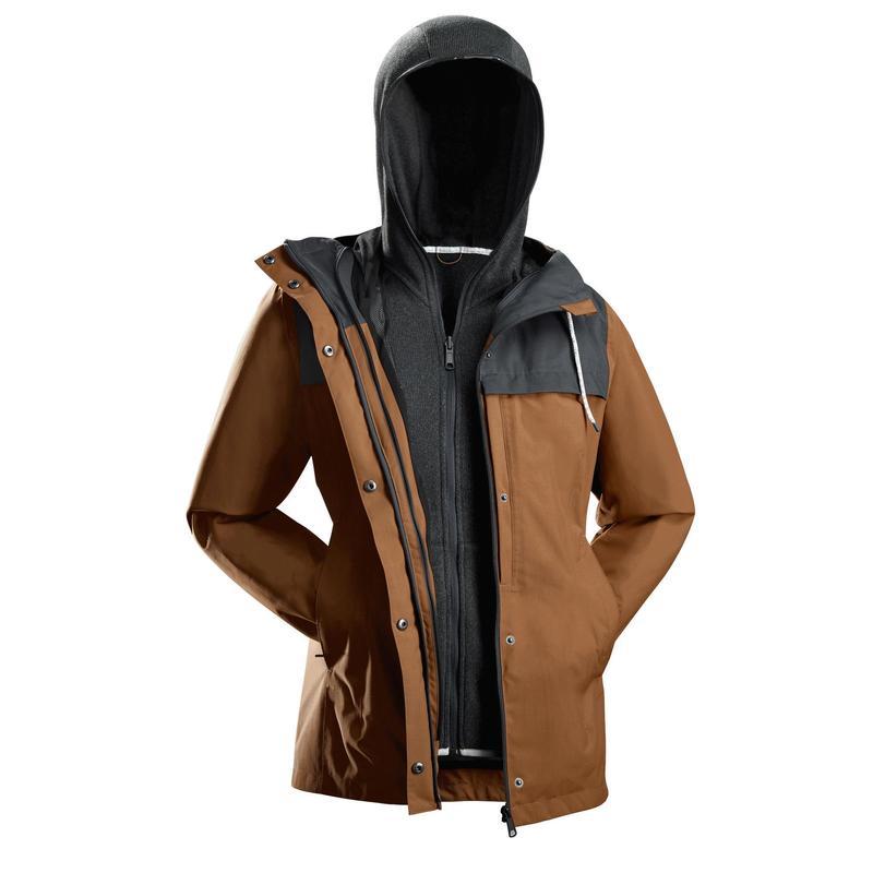 Waterdichte 3-in-1 jas voor backpacken dames Travel 100 comfort 0°C camel