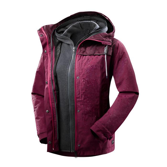 Veste 3en1 imperméable confort 0°C de trek voyage - TRAVEL 100 rose - femme
