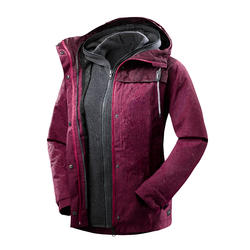 Women's Trekking 3-in-1 Jacket TRAVEL 100 - Dark Pink