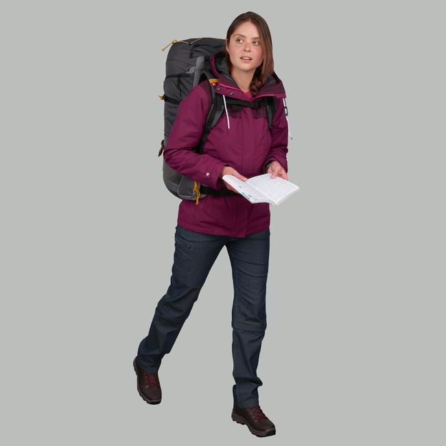 Women's Trekking 3-in-1 Jacket TRAVEL 100 - Dark Pink
