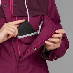 Waterdichte 3-in-1 jas voor backpacken dames Travel 100 comfort 0°C roze