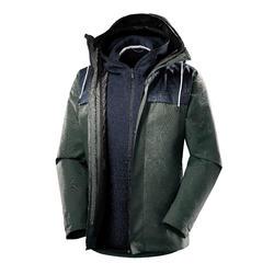Abrigo Chaqueta Montaña y Trekking viaje Forclaz TRAVEL100 3en1 Hombre Caqui