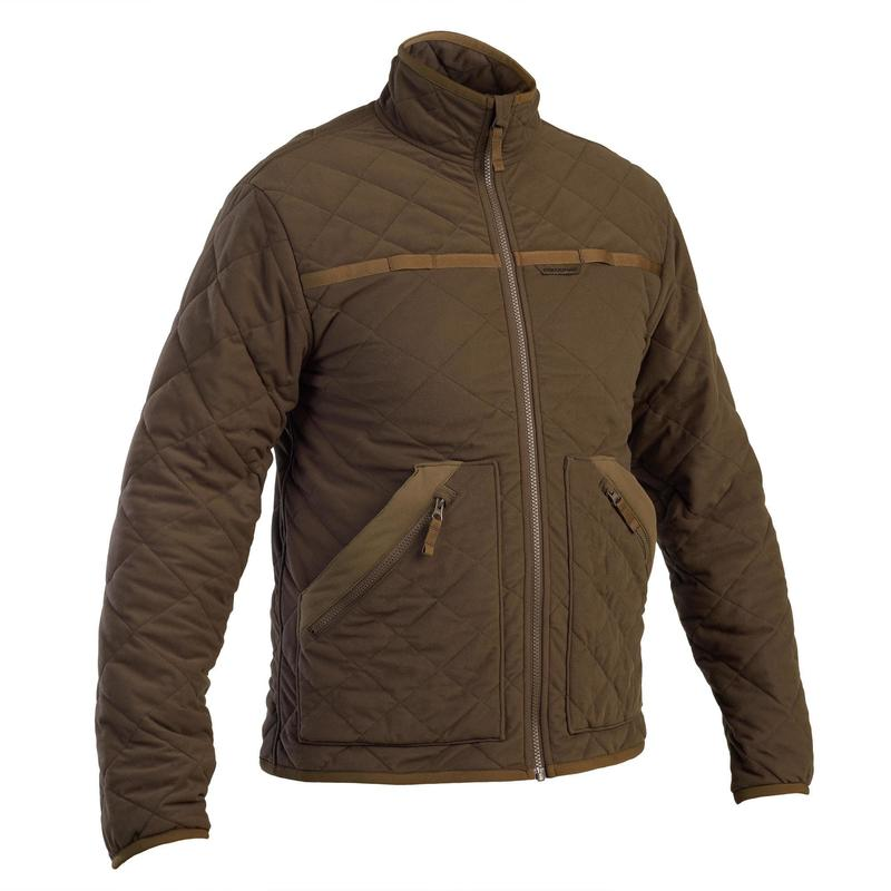 Lovecká prošívaná bunda nešustivá 500 hnědá